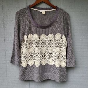 Meadow Rue Anthro Textured Lace Front Top L Grey